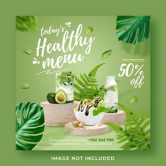 Plantilla de banner de publicación de instagram de redes sociales de promoción de menú saludable