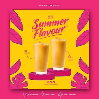 Plantilla de banner de publicación de instagram de redes sociales de promoción de menú de verano
