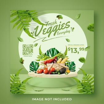 Plantilla de banner de publicación de instagram de redes sociales de promoción de tienda de comestibles de verduras frescas y saludables