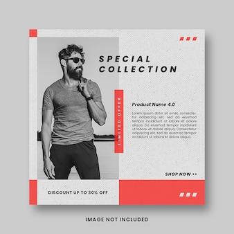 Plantilla de banner de publicación de instagram de redes sociales de promoción de venta de moda roja moderna