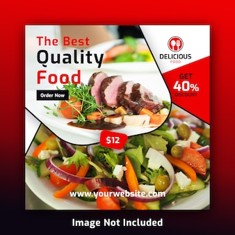 Plantilla de banner de publicación de redes sociales de alimentos para restaurante