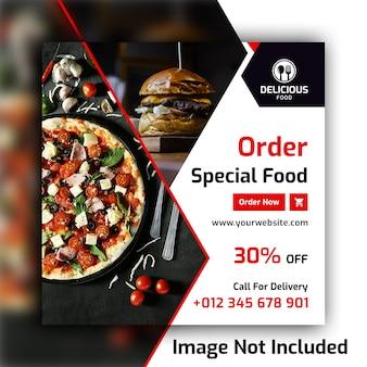 Plantilla de banner de publicación de redes sociales de alimentos