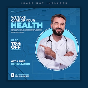 Plantilla de banner de publicación de redes sociales de atención médica médica