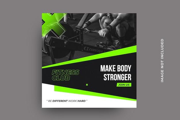 Plantilla de banner de publicación de redes sociales de fitness