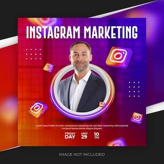 Plantilla de banner de publicación de redes sociales de instagram 3d