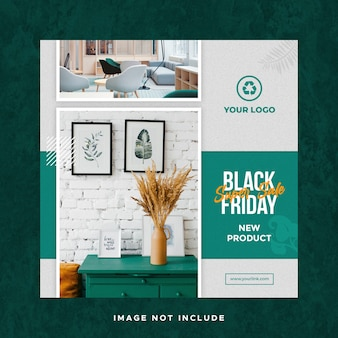 Plantilla de banner de publicación de redes sociales de instagram de venta de viernes negro