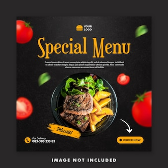 Plantilla de banner de publicación de redes sociales de menú especial para promoción de restaurantes