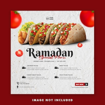 Plantilla de banner de publicación de redes sociales de promoción de menú de ramadán para restaurante