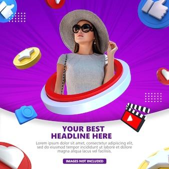 Plantilla de banner de publicación de redes sociales con renderizado de objetos 3d psd premium