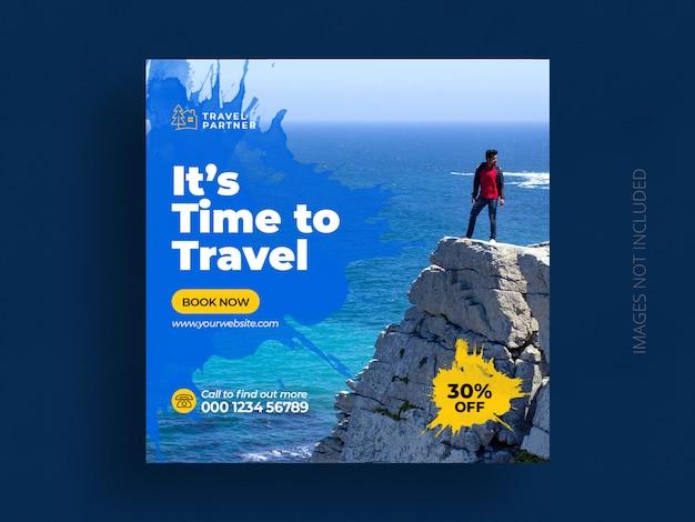 Plantilla de banner de publicación de redes sociales de viaje o publicación de instagram de vacaciones de vacaciones de gira