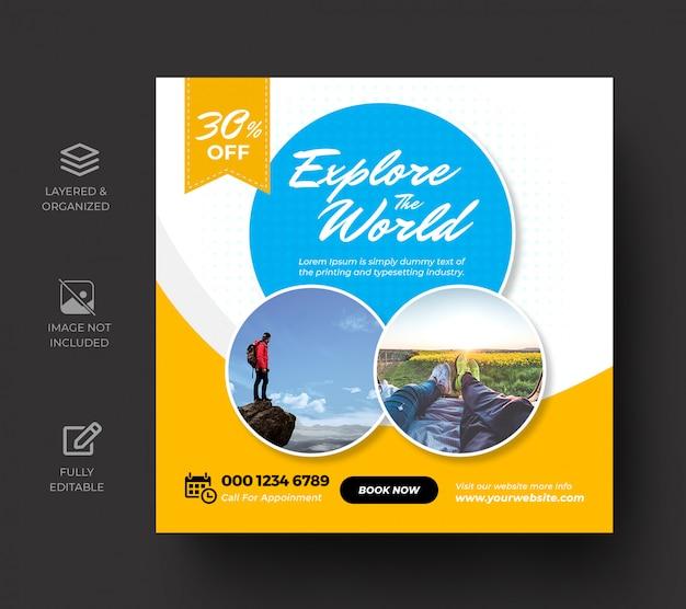Plantilla de banner de publicación de redes sociales de viaje o vacaciones de vacaciones de gira