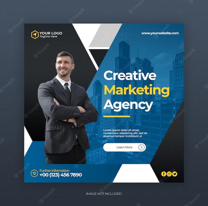 Plantilla de banner de publicaciones o anuncios de instagram con concepto creativo de marketing de negocios digitales