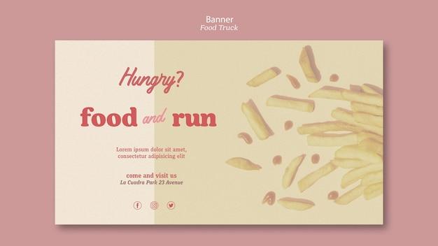 Plantilla de banner publicitario de food truck