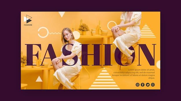 Plantilla de banner publicitario de marketing de moda