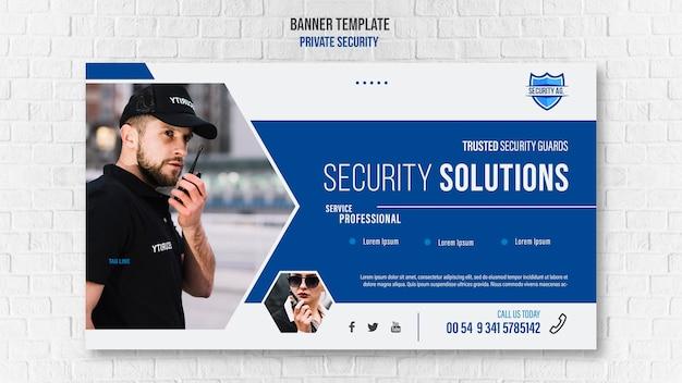 Plantilla de banner publicitario de servicios de seguridad