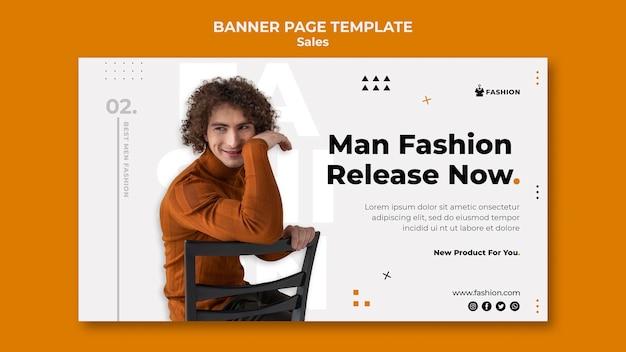 Plantilla de banner de rebajas de moda hombre
