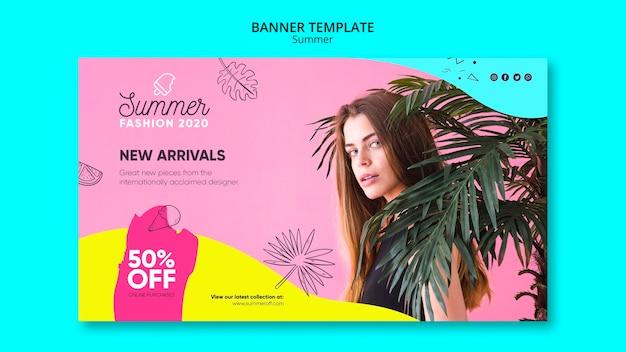 Plantilla de banner con rebajas de verano