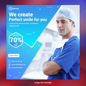 Plantilla de banner de redes sociales de atención médica