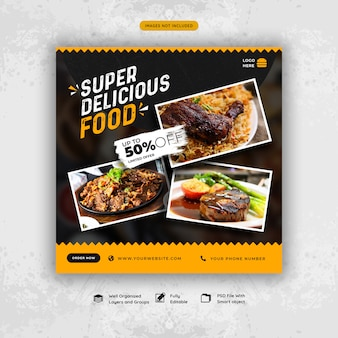 Plantilla de banner de redes sociales de comida deliciosa