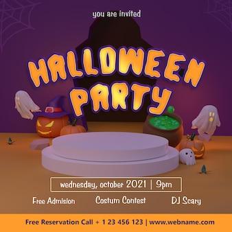 Plantilla de banner de redes sociales de fiesta de halloween con fondo de representación 3d