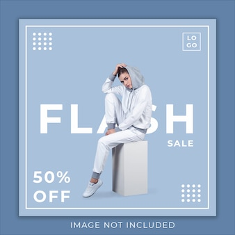 Plantilla de banner de redes sociales de flash sale fashion collection