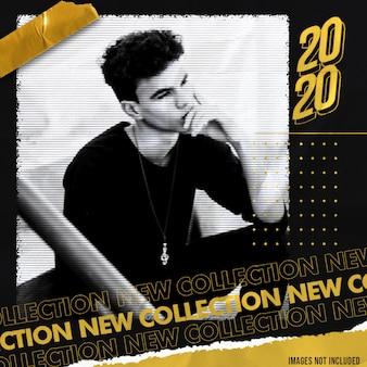 Plantilla de banner de redes sociales gold new collection con efecto street style