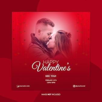 Plantilla de banner de redes sociales de happy valentine