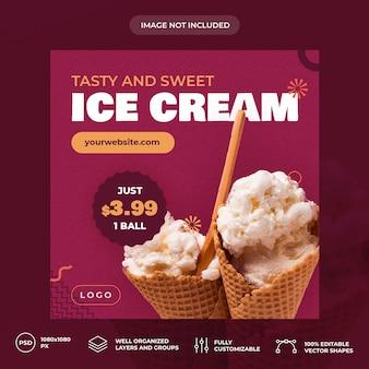 Plantilla de banner de redes sociales ice cream