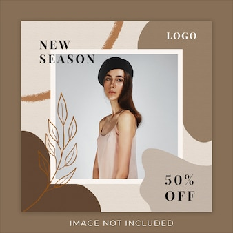 Plantilla de banner de redes sociales new season fashion collection
