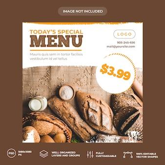 Plantilla de banner de redes sociales de panadería