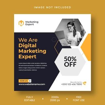 Plantilla de banner de redes sociales y publicación de instagram de experto en marketing digital
