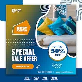 Plantilla de banner de redes sociales para la venta de muebles