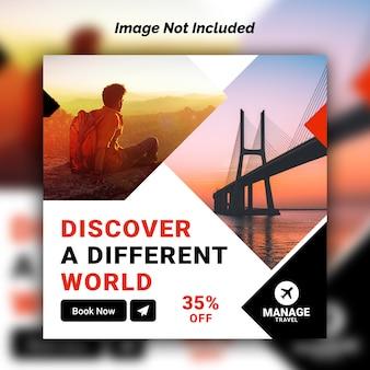 Plantilla de banner de redes sociales de viaje