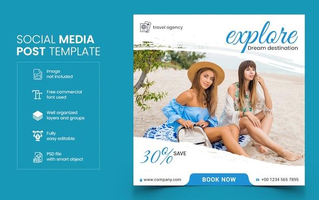 Plantilla de banner de redes sociales de viajes
