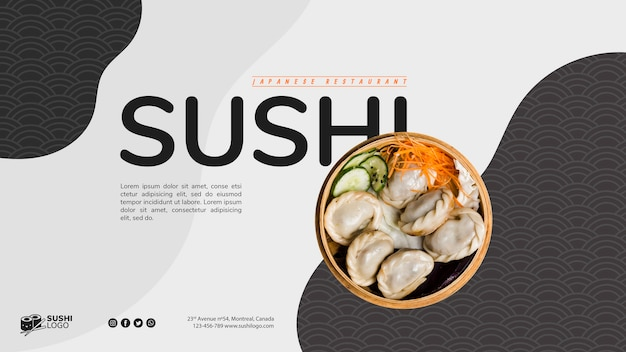 Plantilla de banner de restaurante asiático de sushi