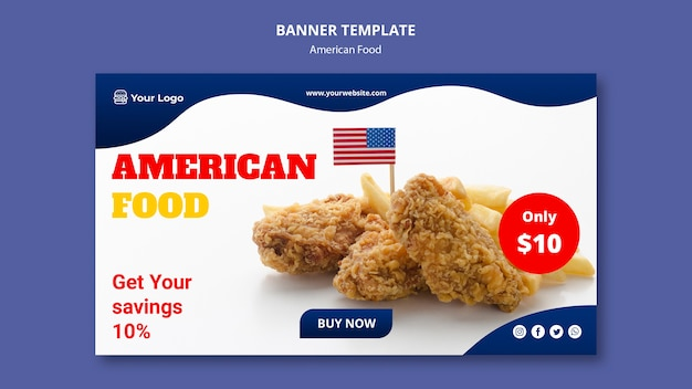 Plantilla de banner para restaurante de comida americana