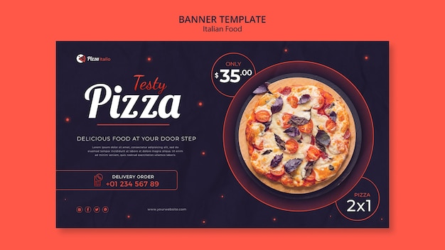 Plantilla de banner para restaurante de comida italiana