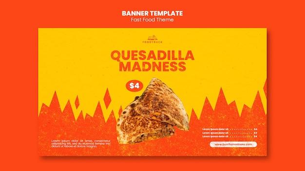 Plantilla de banner para restaurante de comida rápida