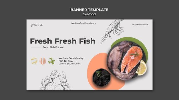 Plantilla de banner de restaurante de mariscos