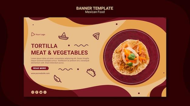 Plantilla de banner de restaurante mexicano