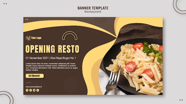 Plantilla de banner de restaurante de pasta