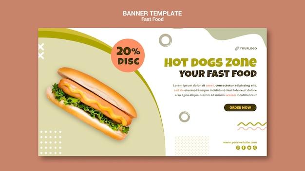 Plantilla de banner para restaurante de perritos calientes