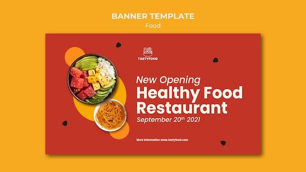 Plantilla de banner para restaurante con plato de comida sana