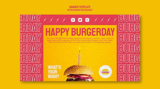 Plantilla de banner de restaurante retro hamburguesa