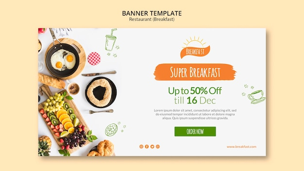Plantilla de banner de restaurante super desayuno