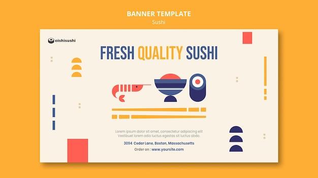 Plantilla de banner de restaurante de sushi