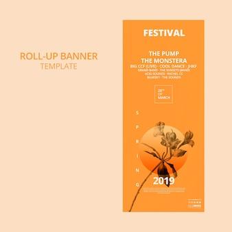 Plantilla de banner roll up con concepto de festival de primavera