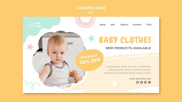 Plantilla de banner de ropa de bebé