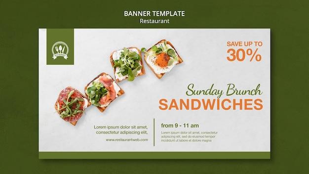 Plantilla de banner de sándwiches de brunch dominical