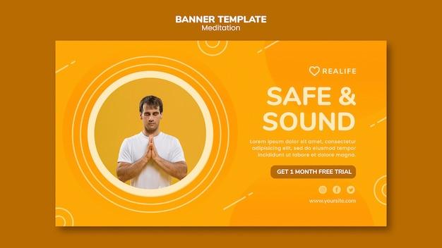 Plantilla de banner seguro y sano de meditación